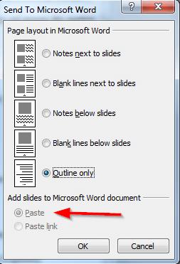 opcije slanja powerpointa u word