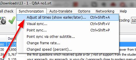 ajust all times subtitle