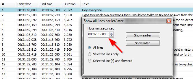 podesavanja vremena razlike kasnjenja titlova