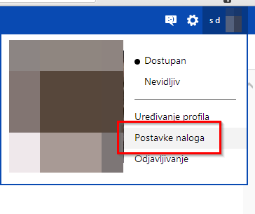 postavke naloga windows
