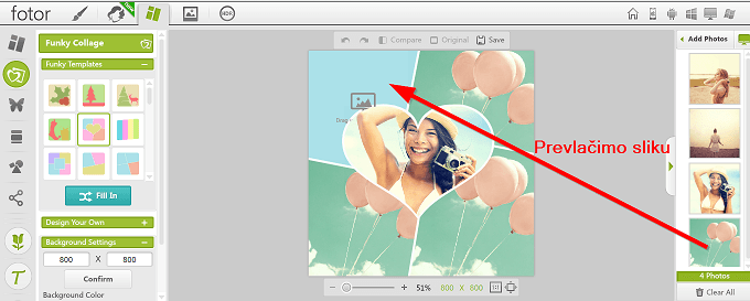 prevlacimo sliku u kolaz sa fotografijama