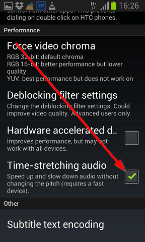 time streching audio vlc plejer