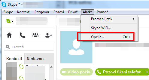 Uputstvo za konfigurisanje mikrofona i veb kamere na Skajpu