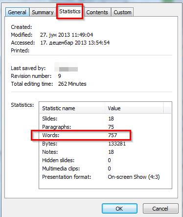 broj reci u powerpoint prezentaciji