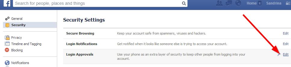 login approvals fejsbuk