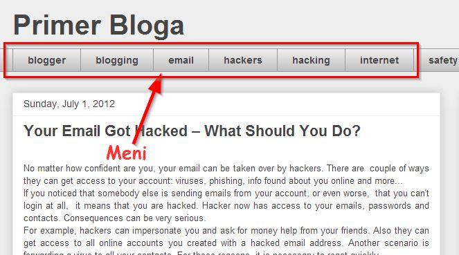 Kako dodati meni na blog hostovan na Blogger platformi?