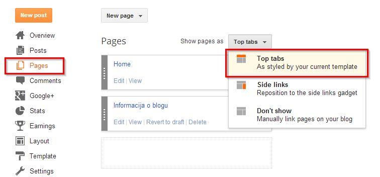 pokazati stranice u meniju engleski bloger