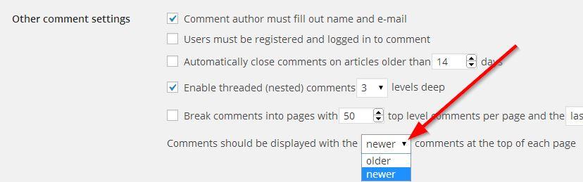 stavite novije komentare wordpress