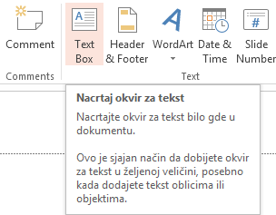 okvir za tekst powerpoint