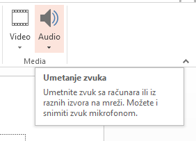 umetanje audio i video u prezentaciju