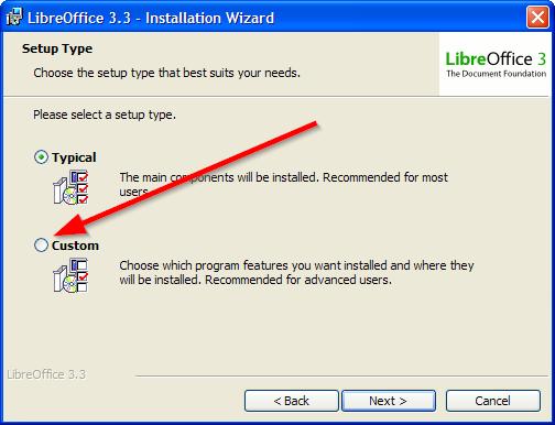custom instalacija libreoffice