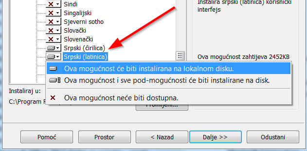 instalacija srpskog jezika libreoffice
