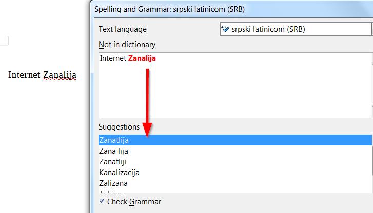 pravopis srpski jezik provera libreoffice