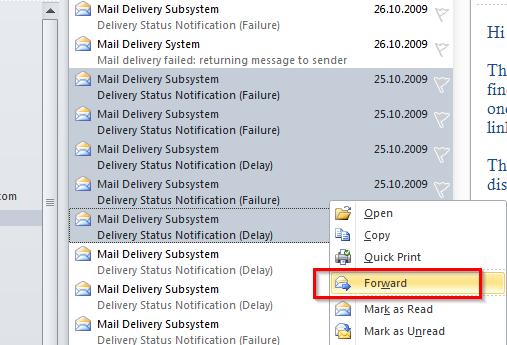Kako da prosledimo više mejlova istovremeno?