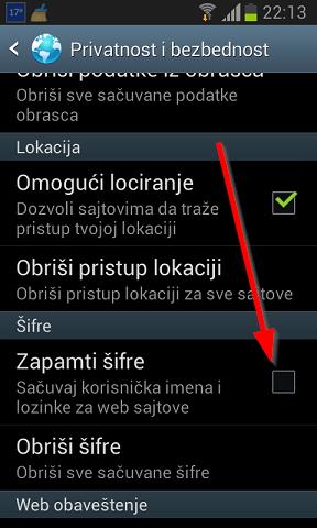 Obrišite zapamćene šifre iz brauzera za Android