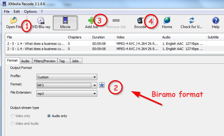 Jednostavan program za pretvaranje video zapisa u mp3 format