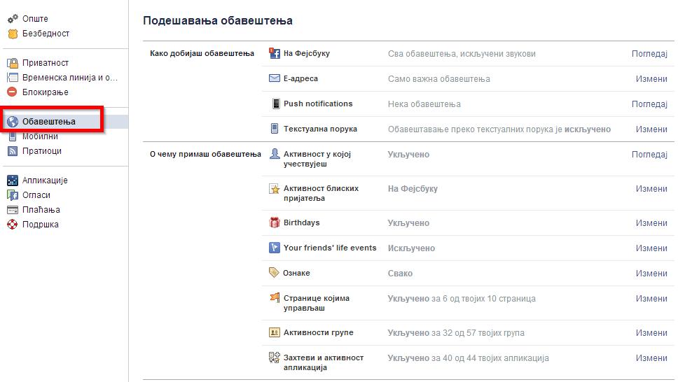 obavestenje fejsbuk