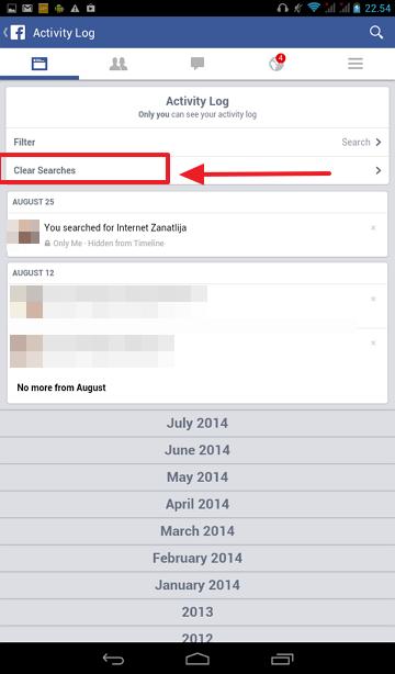 obrisi sve pretrage sa fejsbuk android aplikacije