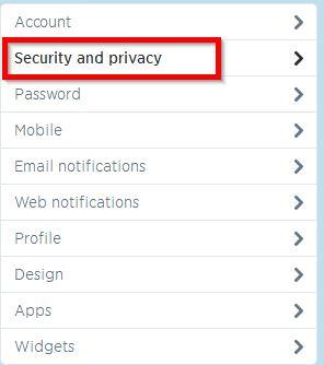 privatnost i bezbednost tviter