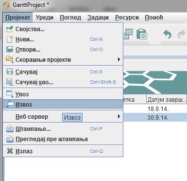 izvoz projekata
