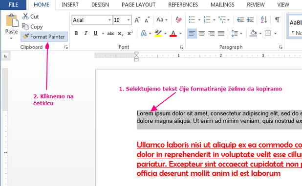 kopiranje formatiranja u wordu