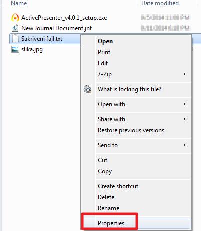 sakrivanje fajla u windowsu