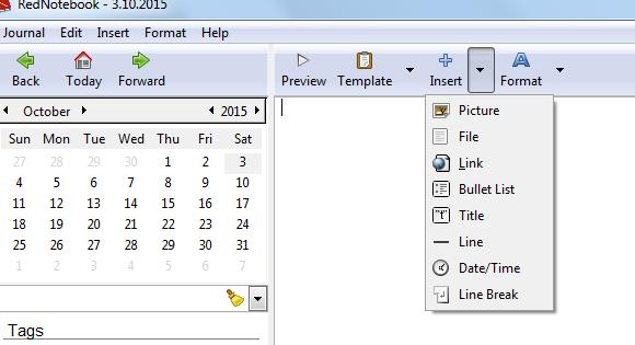 Program za dnevnik ili kalendarske pribeleške – RedNotebook