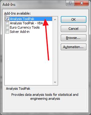 ukljuciti dodatak za statisticku analizu