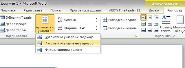 automatski uklopi tabelu u prozor