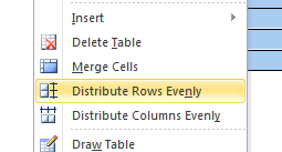 distribute rows evenly