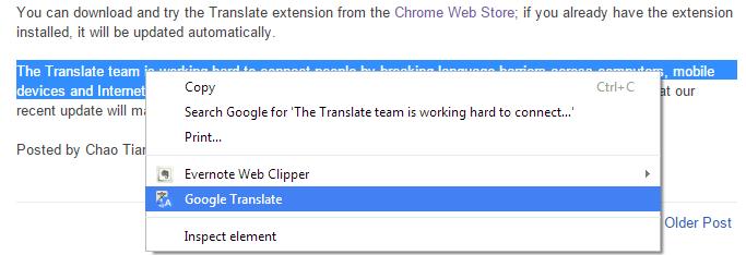 prevod samo jednog paragrafa chrome