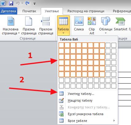 Četiri načina da napravite tabelu u Wordu