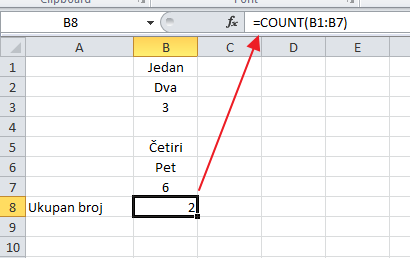 count funkcija excel broj svuda gde se pojavljuje