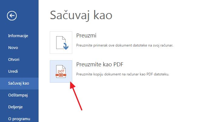 sacuvaj fajl u pdf formatu