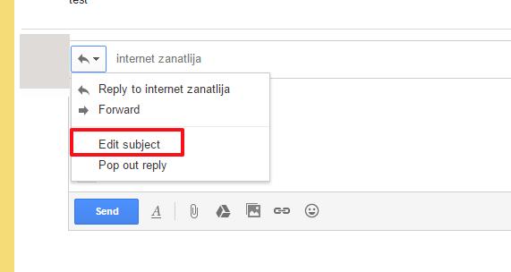 Kako promeniti naslov poruke u Gmail-u