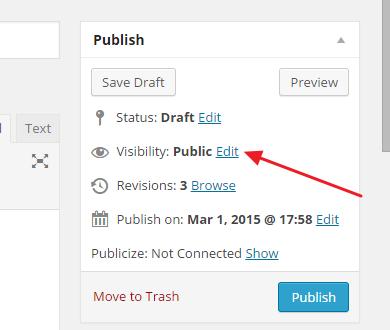 izmeni vidljivost objave wordpress