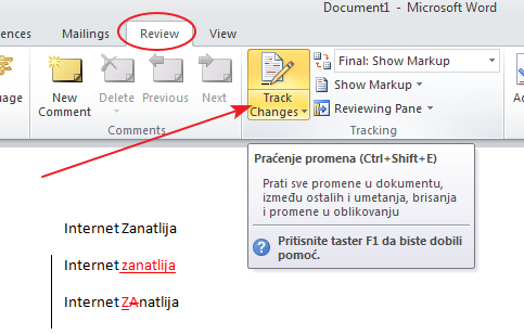 Kako pratiti promene dokumenta u Wordu?