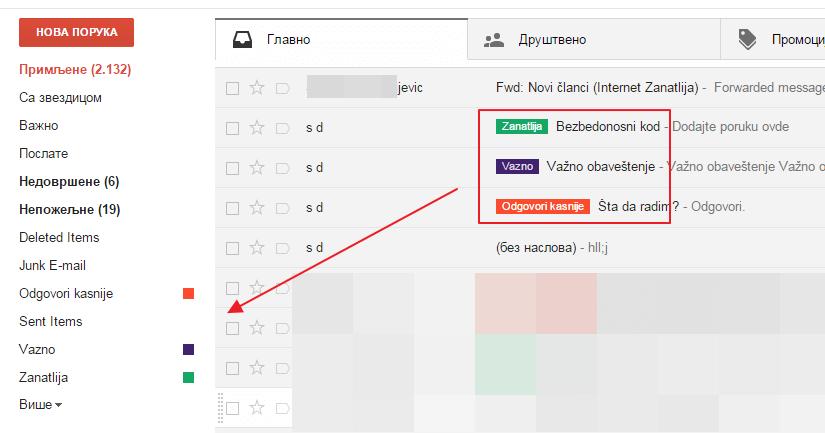 Rad sa oznakama u Gmail-u