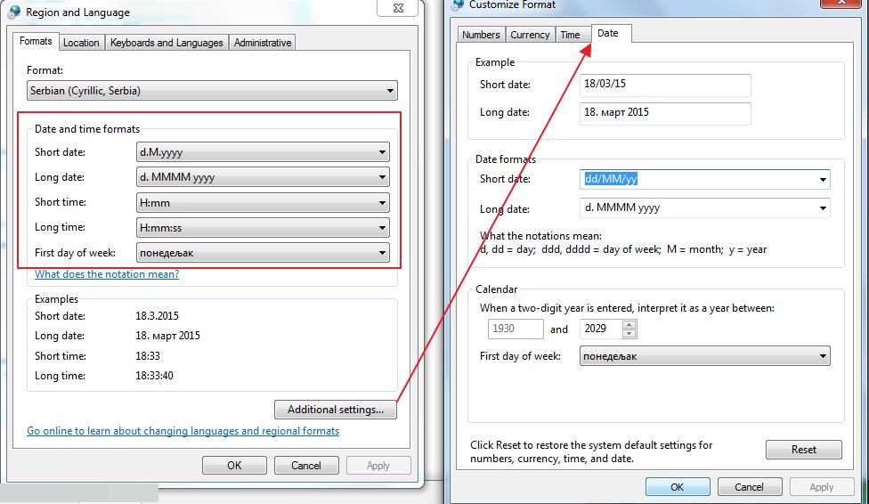 podesavanje podrazumevanog formata za vreme i datum