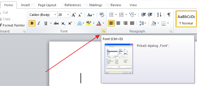 dijalog za font u wordu