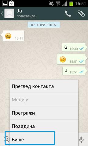 opcije za kontakt whatsapp