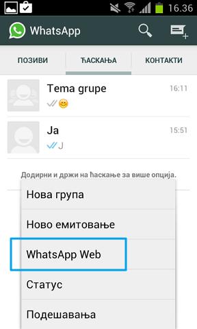 pristup whatsappu sa kompjutera