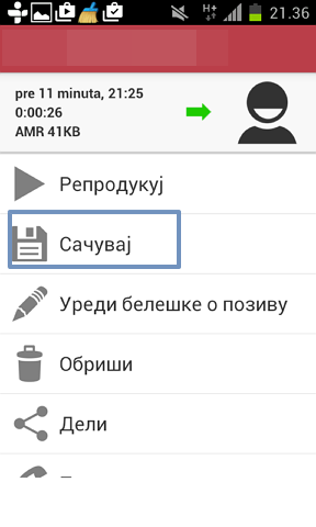 sacuvaj telefonski poziv android