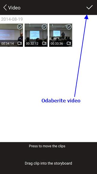 selektujte video za izmenu