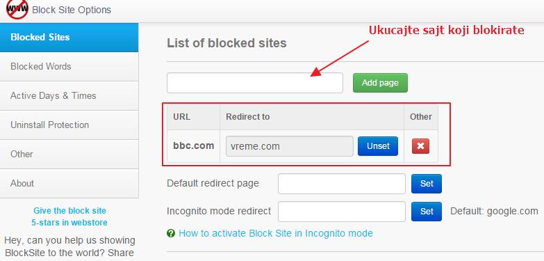 blokirajte sajt u gugl kromu