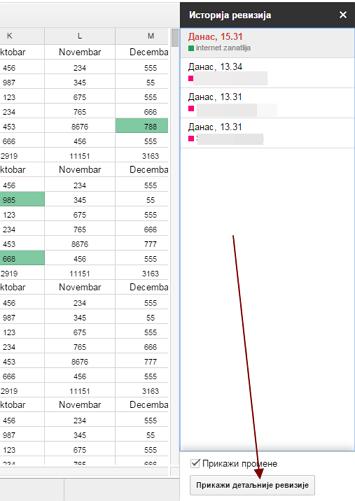 istorija revizija priliom rada sa google tabelama