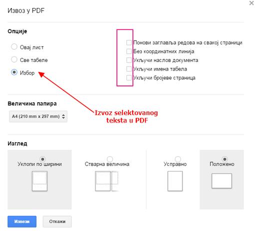 izvoz tabele u pdf format