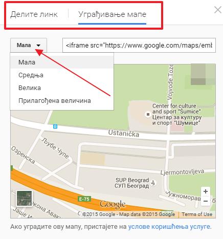 delite link mape ili je ugradite na sajt