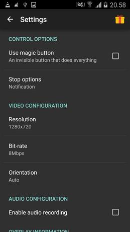 opcije aplikacije za snimanje ekrana