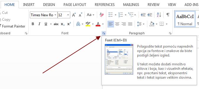 podesavanja fonta